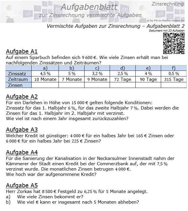 Vermischte Aufgaben der Zinsrechnung Aufgabenblatt 2 / © by Fit-in-Mathe-Online.de