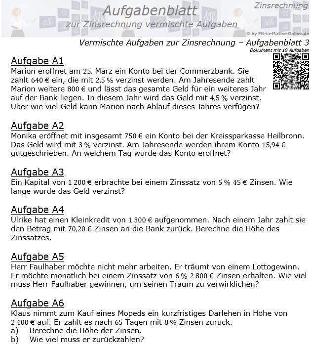 Vermischte Aufgaben der Zinsrechnung Aufgabenblatt 3 / © by Fit-in-Mathe-Online.de