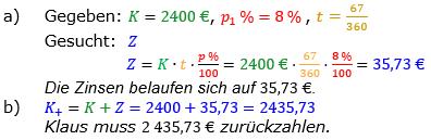 Zinsrechnung vermischte Aufgaben Lösungen zum Aufgabensatz 06 Blatt 03 Bild A0306L01/© by www.fit-in-mathe-online.de