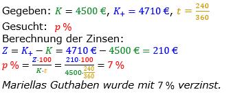 Zinsrechnung vermischte Aufgaben Lösungen zum Aufgabensatz 07 Blatt 03 Bild A0307L01/© by www.fit-in-mathe-online.de
