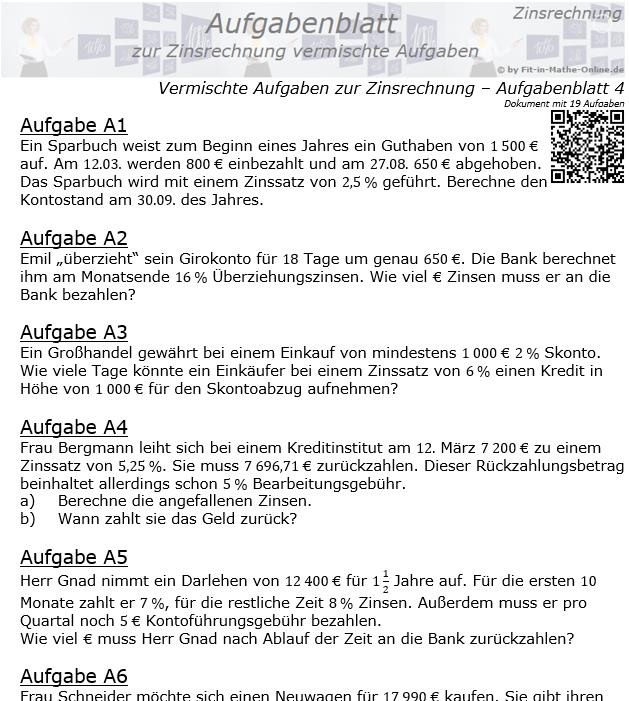 Vermischte Aufgaben der Zinsrechnung Aufgabenblatt 4 / © by Fit-in-Mathe-Online.de