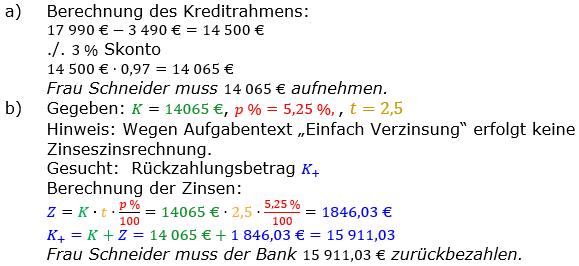 Zinsrechnung vermischte Aufgaben Lösungen zum Aufgabensatz 06 Blatt 04 Bild A0406L01/© by www.fit-in-mathe-online.de