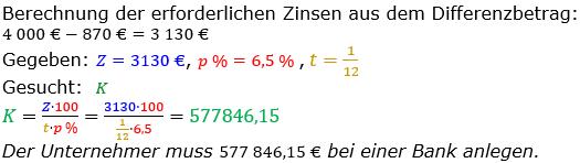 Zinsrechnung vermischte Aufgaben Lösungen zum Aufgabensatz 07 Blatt 04 Bild A0407L01/© by www.fit-in-mathe-online.de