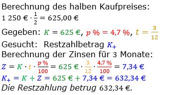 Zinsrechnung vermischte Aufgaben Lösungen zum Aufgabensatz 08 Blatt 04 Bild A0408L01/© by www.fit-in-mathe-online.de