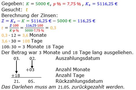 Zinsrechnung vermischte Aufgaben Lösungen zum Aufgabensatz 10 Blatt 04 Bild A0410L01/© by www.fit-in-mathe-online.de