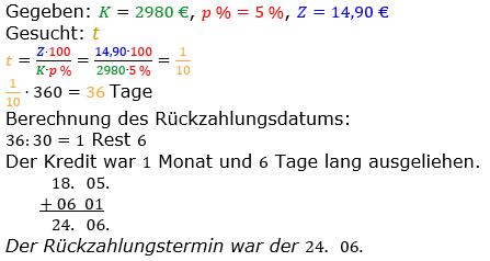 Zinsrechnung vermischte Aufgaben Lösungen zum Aufgabensatz 12 Blatt 04 Bild A0412L01/© by www.fit-in-mathe-online.de