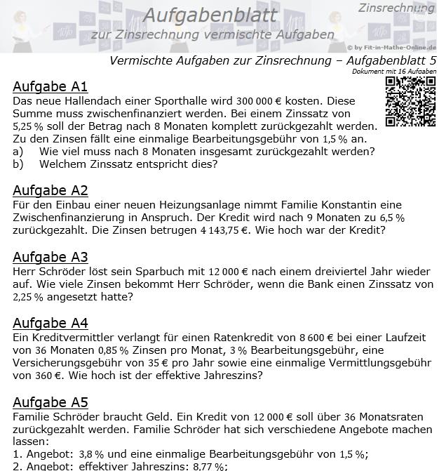 Vermischte Aufgaben der Zinsrechnung Aufgabenblatt 5 / © by Fit-in-Mathe-Online.de