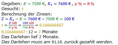 Zinsrechnung vermischte Aufgaben Lösungen zum Aufgabensatz 10 Blatt 05 Bild A0510L01/© by www.fit-in-mathe-online.de