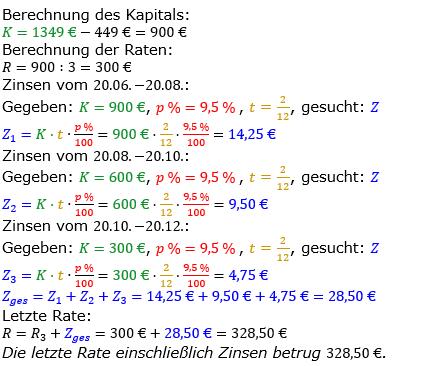 Zinsrechnung vermischte Aufgaben Lösungen zum Aufgabensatz 11 Blatt 05 Bild A0511L01/© by www.fit-in-mathe-online.de