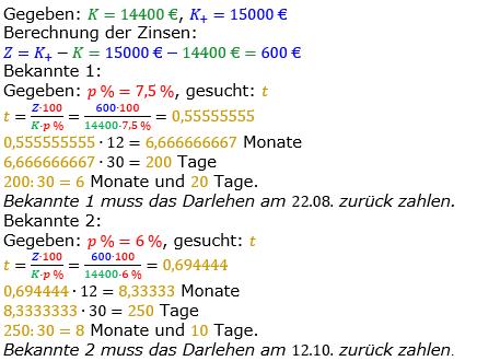 Zinsrechnung vermischte Aufgaben Lösungen zum Aufgabensatz 15 Blatt 05 Bild A0515L01/© by www.fit-in-mathe-online.de