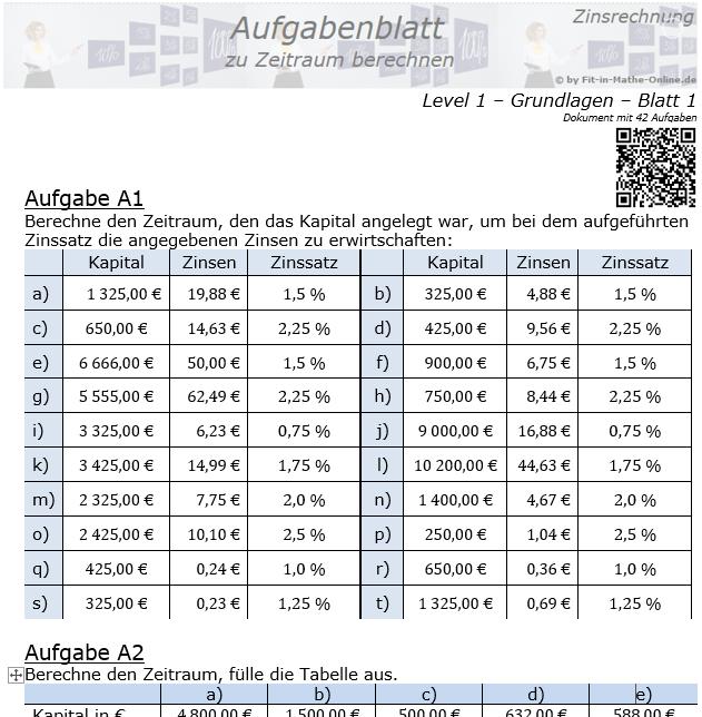 Zeitraum berechnen in der Zinsrechnung Aufgabenblatt 1/1 / © by Fit-in-Mathe-Online.de