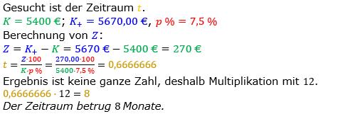 Zinsrechnung Zeitraum berechnen Lösungen zum Aufgabensatz 06 Blatt 1/1 Grundlagen Bild A1106L01/© by www.fit-in-mathe-online.de