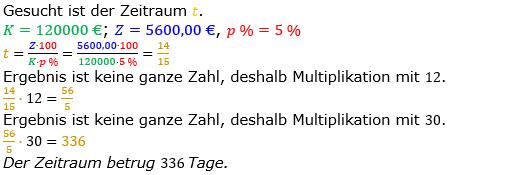 Zinsrechnung Zeitraum berechnen Lösungen zum Aufgabensatz 07 Blatt 1/1 Grundlagen Bild A1107L01/© by www.fit-in-mathe-online.de