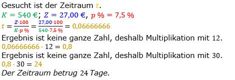 Zinsrechnung Zeitraum berechnen Lösungen zum Aufgabensatz 08 Blatt 1/1 Grundlagen Bild A1108L01/© by www.fit-in-mathe-online.de