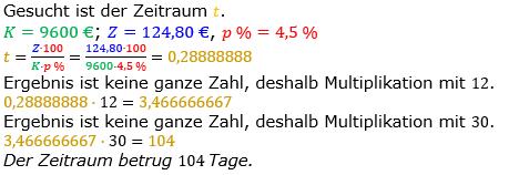 Zinsrechnung Zeitraum berechnen Lösungen zum Aufgabensatz 09 Blatt 1/1 Grundlagen Bild A1109L01/© by www.fit-in-mathe-online.de
