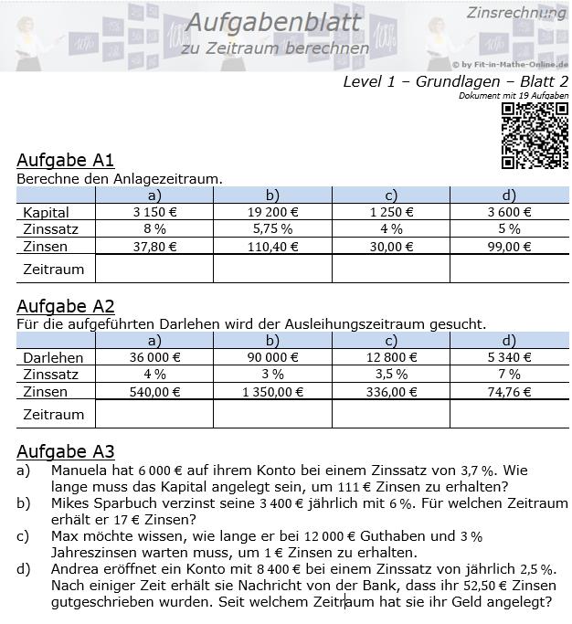 Zeitraum berechnen in der Zinsrechnung Aufgabenblatt 1/2 / © by Fit-in-Mathe-Online.de