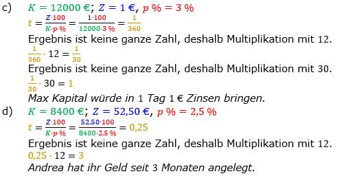 Zinsrechnung Zeitraum berechnen Lösungen zum Aufgabensatz 03 Blatt 1/2 Grundlagen Bild A1203L02/© by www.fit-in-mathe-online.de