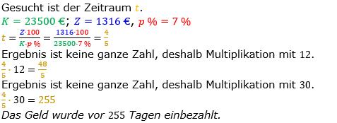 Zinsrechnung Zeitraum berechnen Lösungen zum Aufgabensatz 04 Blatt 1/2 Grundlagen Bild A1204L01/© by www.fit-in-mathe-online.de