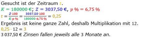 Zinsrechnung Zeitraum berechnen Lösungen zum Aufgabensatz 06 Blatt 1/2 Grundlagen Bild A1206L01/© by www.fit-in-mathe-online.de