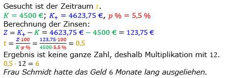 Zinsrechnung Zeitraum berechnen Lösungen zum Aufgabensatz 07 Blatt 1/2 Grundlagen Bild A1207L01/© by www.fit-in-mathe-online.de