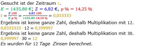Zinsrechnung Zeitraum berechnen Lösungen zum Aufgabensatz 08 Blatt 1/2 Grundlagen Bild A1208L01/© by www.fit-in-mathe-online.de