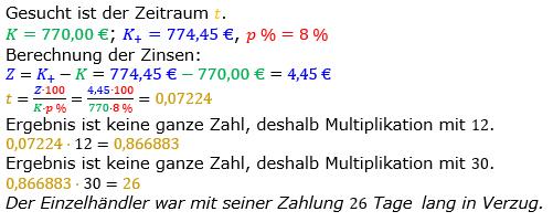 Zinsrechnung Zeitraum berechnen Lösungen zum Aufgabensatz 09 Blatt 1/2 Grundlagen Bild A1209L01/© by www.fit-in-mathe-online.de