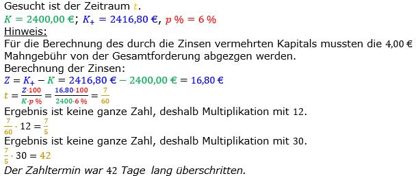 Zinsrechnung Zeitraum berechnen Lösungen zum Aufgabensatz 10 Blatt 1/2 Grundlagen Bild A1210L01/© by www.fit-in-mathe-online.de