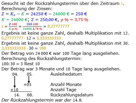Zinsrechnung Zeitraum berechnen Lösungen zum Aufgabensatz 07 Blatt 2/1 Fortgeschritten Bild A2107L01/© by www.fit-in-mathe-online.de