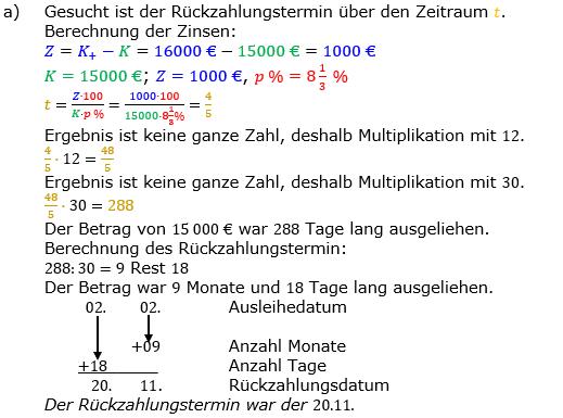 Zinsrechnung Zeitraum berechnen Lösungen zum Aufgabensatz 09 Blatt 2/1 Fortgeschritten Bild A2109L01/© by www.fit-in-mathe-online.de