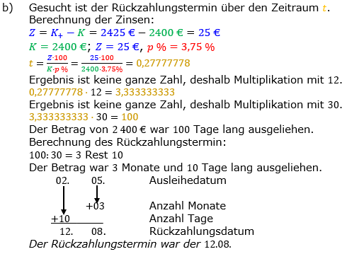 Zinsrechnung Zeitraum berechnen Lösungen zum Aufgabensatz 09 Blatt 2/1 Fortgeschritten Bild A2109L02/© by www.fit-in-mathe-online.de
