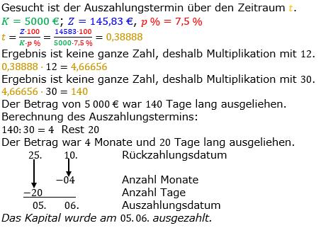 Zinsrechnung Zeitraum berechnen Lösungen zum Aufgabensatz 10 Blatt 2/1 Fortgeschritten Bild A2110L01/© by www.fit-in-mathe-online.de