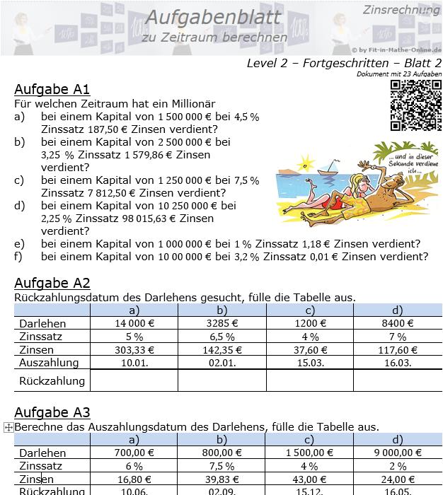 Zeitraum berechnen in der Zinsrechnung Aufgabenblatt 2/2 / © by Fit-in-Mathe-Online.de