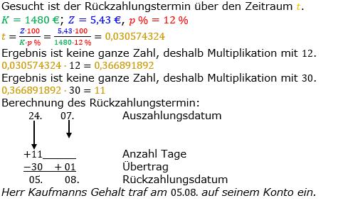 Zinsrechnung Zeitraum berechnen Lösungen zum Aufgabensatz 05 Blatt 2/2 Fortgeschritten Bild A2205L01/© by www.fit-in-mathe-online.de