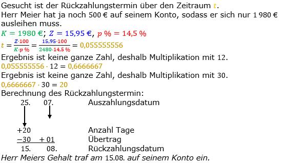 Zinsrechnung Zeitraum berechnen Lösungen zum Aufgabensatz 06 Blatt 2/2 Fortgeschritten Bild A2206L01/© by www.fit-in-mathe-online.de