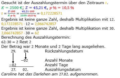Zinsrechnung Zeitraum berechnen Lösungen zum Aufgabensatz 07 Blatt 2/2 Fortgeschritten Bild A2207L01/© by www.fit-in-mathe-online.de