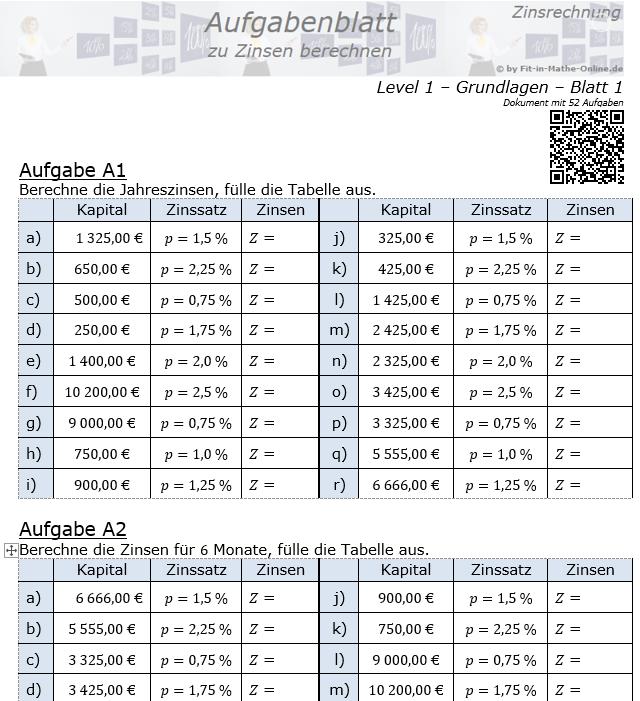 Zinsen berechnen in der Zinsrechnung Aufgabenblatt 1/1 / © by Fit-in-Mathe-Online.de