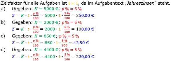 Zinsrechnung Zinsen berechnen Lösungen zum Aufgabensatz 03 Blatt 1/1 Grundlagen Bild A1103L01/© by www.fit-in-mathe-online.de