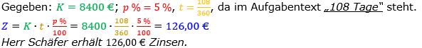 Zinsrechnung Zinsen berechnen Lösungen zum Aufgabensatz 06 Blatt 1/1 Grundlagen Bild A1106L01/© by www.fit-in-mathe-online.de