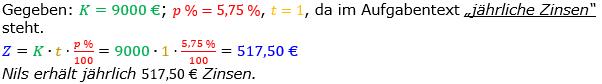 Zinsrechnung Zinsen berechnen Lösungen zum Aufgabensatz 07 Blatt 1/1 Grundlagen Bild A1107L01/© by www.fit-in-mathe-online.de
