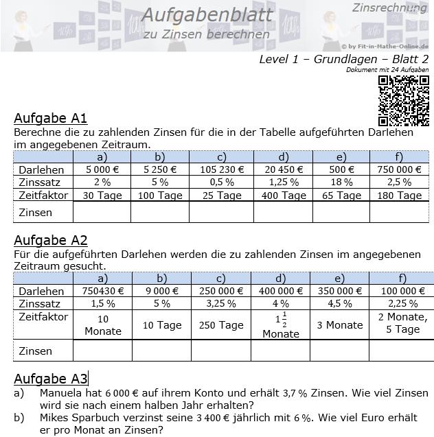 Zinsen berechnen in der Zinsrechnung Aufgabenblatt 1/2 / © by Fit-in-Mathe-Online.de