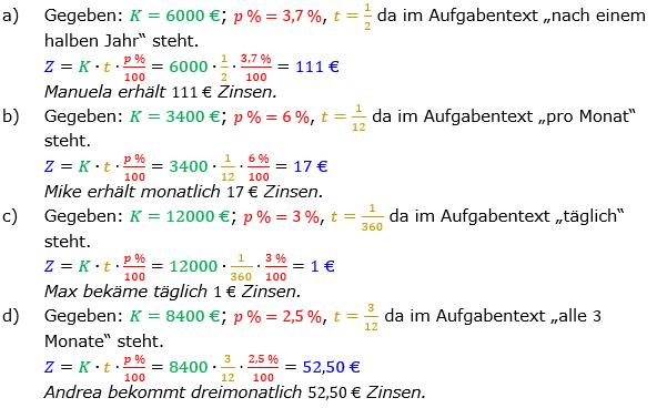Zinsrechnung Zinsen berechnen Lösungen zum Aufgabensatz 03 Blatt 1/2 Grundlagen Bild A1203L01/© by www.fit-in-mathe-online.de
