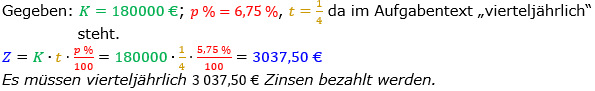 Zinsrechnung Zinsen berechnen Lösungen zum Aufgabensatz 06 Blatt 1/2 Grundlagen Bild A1206L01/© by www.fit-in-mathe-online.de
