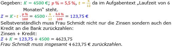 Zinsrechnung Zinsen berechnen Lösungen zum Aufgabensatz 07 Blatt 1/2 Grundlagen Bild A1207L01/© by www.fit-in-mathe-online.de
