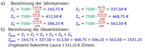 Zinsrechnung Zinsen berechnen Lösungen zum Aufgabensatz 08 Blatt 1/2 Grundlagen Bild A1208L01/© by www.fit-in-mathe-online.de