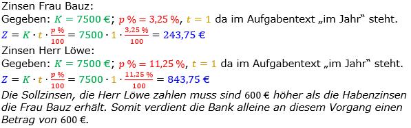 Zinsrechnung Zinsen berechnen Lösungen zum Aufgabensatz 09 Blatt 1/2 Grundlagen Bild A1209L01/© by www.fit-in-mathe-online.de