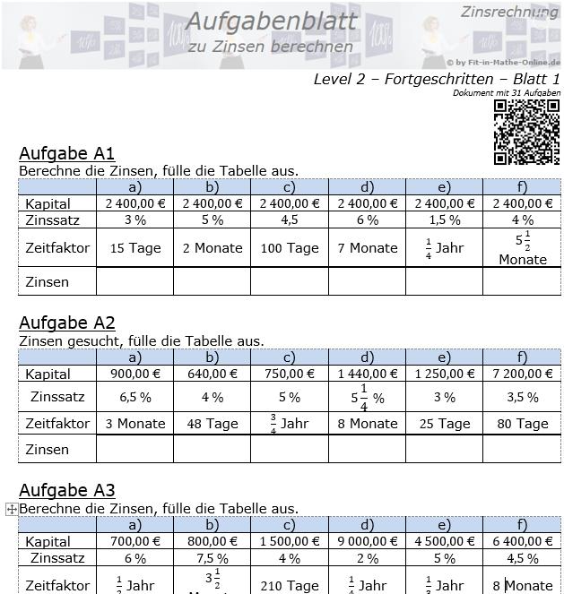 Zinsen berechnen in der Zinsrechnung Aufgabenblatt 2/1 / © by Fit-in-Mathe-Online.de