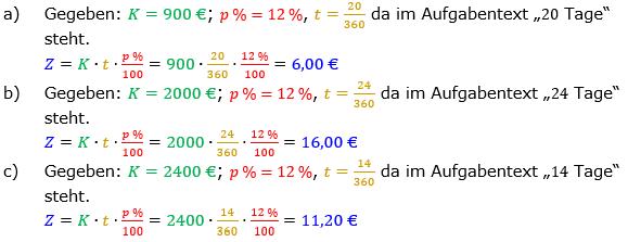 Zinsrechnung Zinsen berechnen Lösungen zum Aufgabensatz 05 Blatt 2/1 Fortgeschritten Bild A2105L01/© by www.fit-in-mathe-online.de