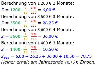 Zinsrechnung Zinsen berechnen Lösungen zum Aufgabensatz 07 Blatt 2/1 Fortgeschritten Bild A2107L01/© by www.fit-in-mathe-online.de