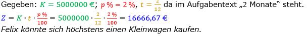 Zinsrechnung Zinsen berechnen Lösungen zum Aufgabensatz 09 Blatt 2/1 Fortgeschritten Bild A2109L01/© by www.fit-in-mathe-online.de