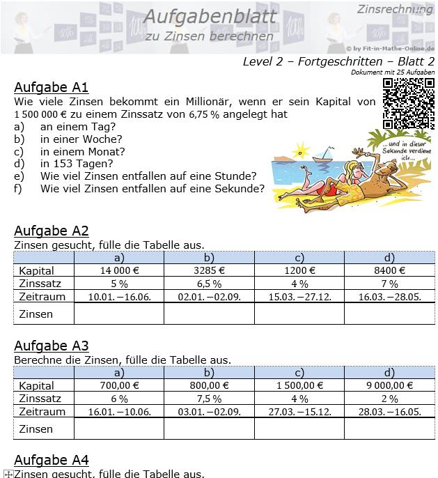 Zinsen berechnen in der Zinsrechnung Aufgabenblatt 2/2 / © by Fit-in-Mathe-Online.de